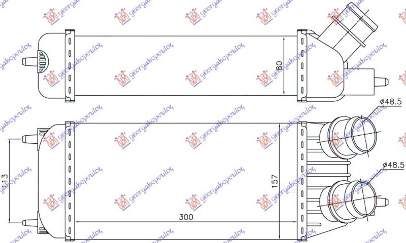 HLAD INTERCOOLER 1.6HDi DSL (300x155x80)