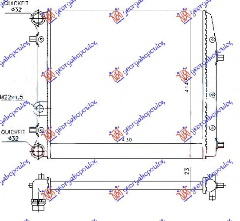 HLAD MOTORA -A/C (43x41) BEZ VENTILATORA