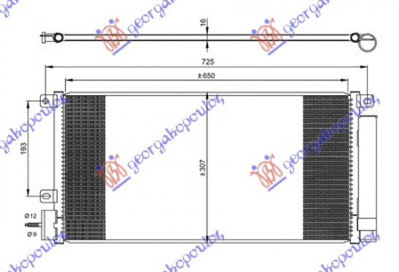 HLADNJAK KLIME 1.4 16v TURBO BEN 650x310