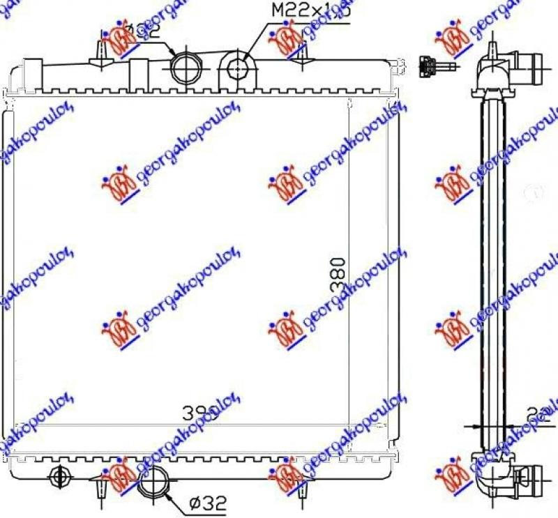 HLADNJAK MOTORA 1.1-1.6 8V -A/C (38x41.5