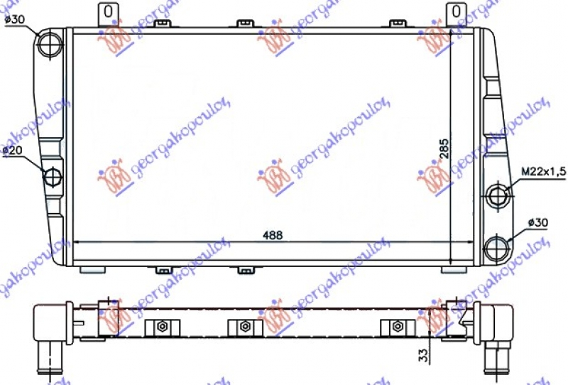 HLADNJAK MOTORA 1.3 -A/C (49x28)