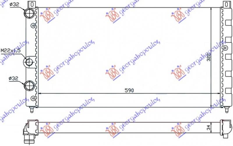 HLADNJAK MOTORA 1.6i 8V-1.9D (59x32)